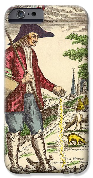 Animal Drawings iPhone Cases - A French Village Peasant During The iPhone Case by Ken Welsh