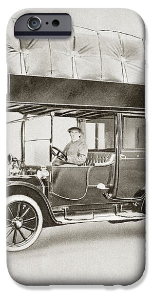 Wwi iPhone Cases - A Gas-bag Taxi During World War I. Due iPhone Case by Vintage Design Pics