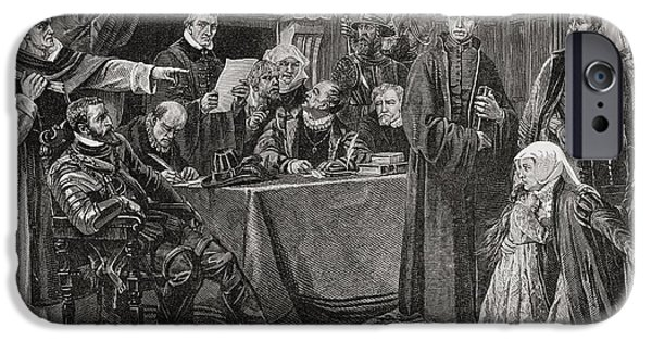 Religious Drawings iPhone Cases - A German Council Of Troubles During The iPhone Case by Ken Welsh
