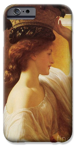 Leighton Frederic 1830-96 iPhone Cases - a Girl with a Basket of Fruit iPhone Case by Celestial Images