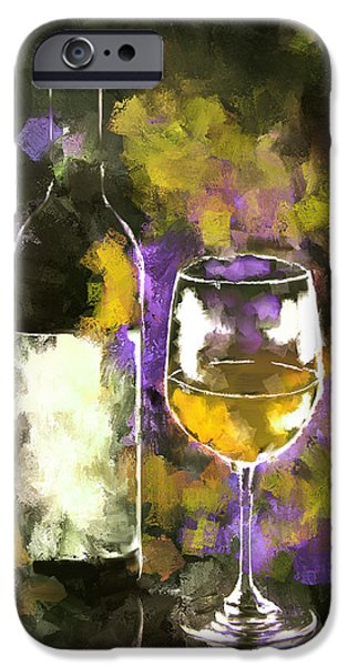 Wine Bottles iPhone Cases - A Glass of White iPhone Case by Peggy Kahan