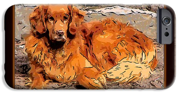 Puppies Digital Art iPhone Cases - A Golden Retriever Resting Abstract Dog Art iPhone Case by Omaste Witkowski