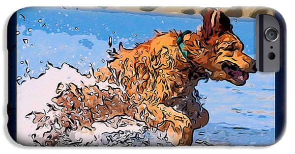 Puppies Digital Art iPhone Cases - A Golden Retriever Splashing Abstract Dog Art iPhone Case by Omaste Witkowski