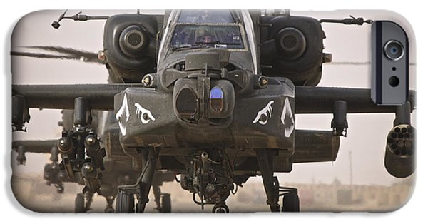 Iraq iPhone Cases - A Group Of Ah-64d Apache Helicopters iPhone Case by Terry Moore
