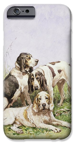Working Dogs iPhone Cases - A Group of French Hounds iPhone Case by Charles Oliver de Penne