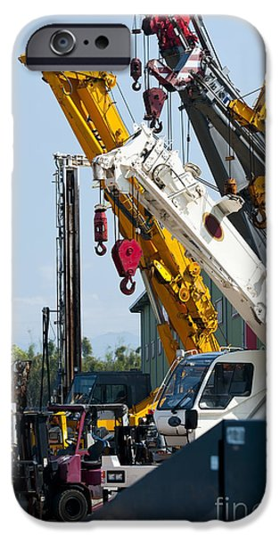 Man Made Space iPhone Cases - A Group Of Mobile Cranes. Hooks iPhone Case by Lawren Lu