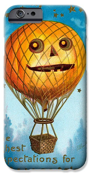 Hot Air Balloon iPhone Cases - A Halloween Pumpkin Hot Air Balloon iPhone Case by Ellen Hattie Clapsaddle