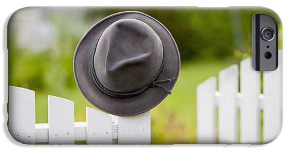Recently Sold -  - White House iPhone Cases - A Hat Hanging On The Post Of A White iPhone Case by Lorna Rande