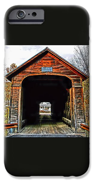 Covered Bridge iPhone Cases - A Horses Walk iPhone Case by DJ Florek