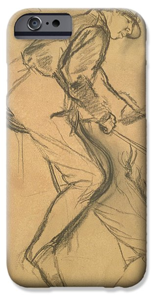 The Horse Pastels iPhone Cases - A Jockey iPhone Case by Edgar Degas