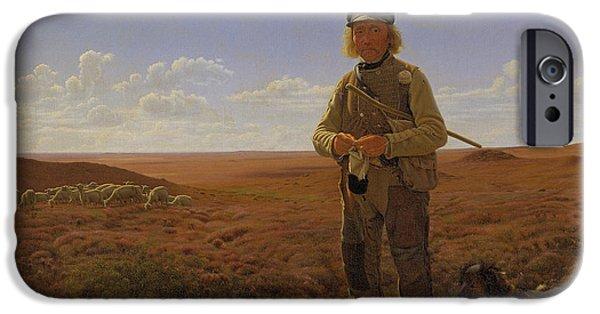 Field. Cloud Paintings iPhone Cases - A Jutland Shepherd on the Moors iPhone Case by Frederik Vermehren