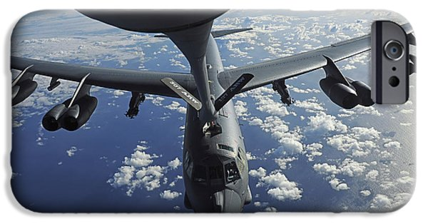 Mechanism iPhone Cases - A Kc-135 Stratotanker Aircraft Refuels iPhone Case by Stocktrek Images