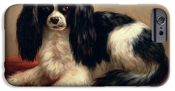 Cushion iPhone Cases - A King Charles Spaniel Seated on a Red Cushion iPhone Case by Eugene Joseph Verboeckhoven