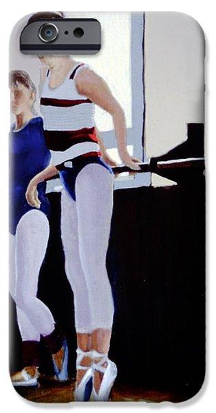 Ballet Dancers iPhone Cases - A La Barre iPhone Case by David Zimmerman