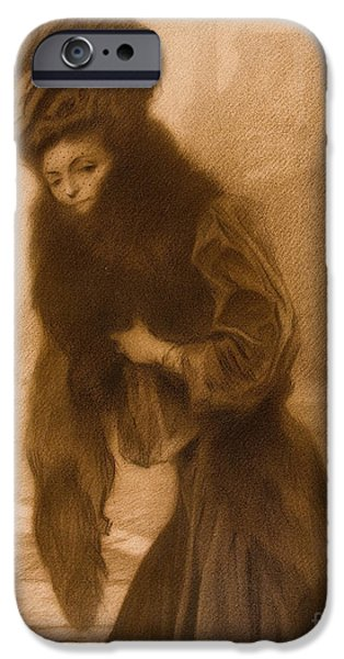 1907 Paintings iPhone Cases - A lady iPhone Case by Celestial Images