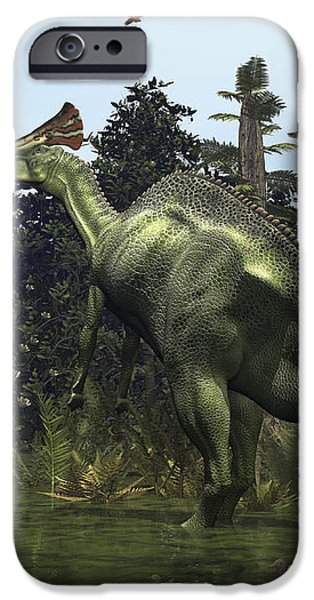 A Lambeosaurus Rears Onto Its Hind Legs iPhone Case by Walter Myers