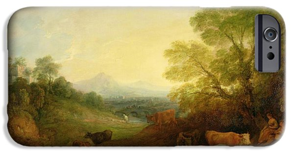 Setting Sun iPhone Cases - A Landscape with Cattle and Figures by a Stream and a Distant Bridge iPhone Case by Thomas Gainsborough