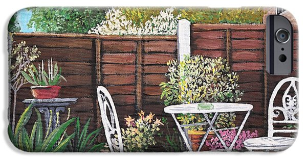 Garden Scene Paintings iPhone Cases - A Little British Garden iPhone Case by Reb Frost