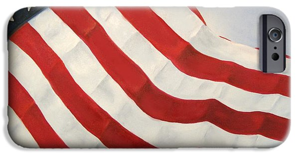 Old Glory Paintings iPhone Cases - A Little Glory iPhone Case by Carol Sweetwood