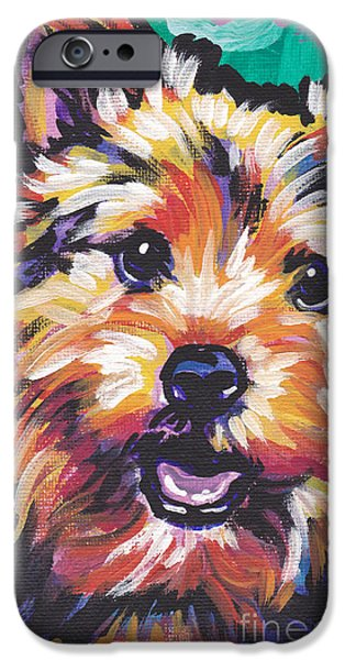 Terrier Art iPhone Cases - A Little Norwich Love iPhone Case by Lea