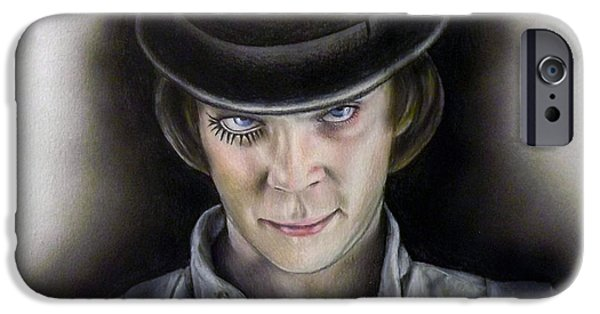 Airbrush Drawings iPhone Cases - A Little Ultraviolence? iPhone Case by Jonathan Anderson