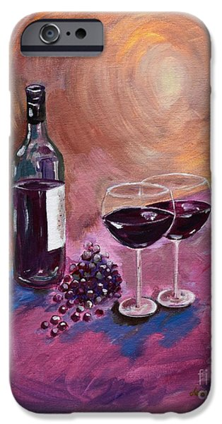 Wine Bottles iPhone Cases - A little Wine on my Canvas - Wine - Grapes iPhone Case by Jan Dappen