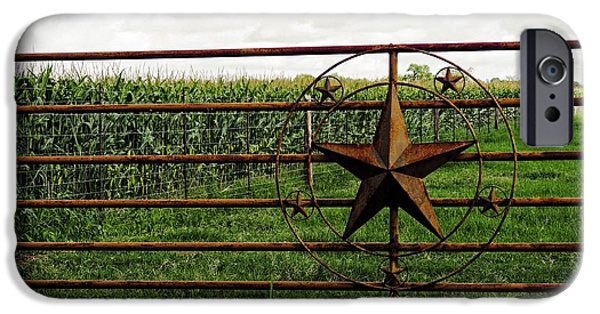 Rust iPhone Cases - A Lone Star Fence iPhone Case by Gary Richards