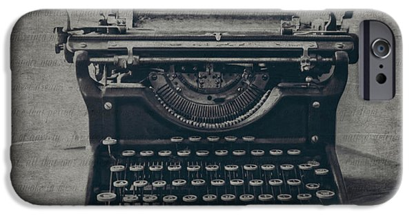 Typewriter Keys Photographs iPhone Cases - A Loss of Words iPhone Case by Emily Enz