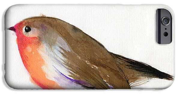 Animal Cards iPhone Cases - A magical little robin called Wisp iPhone Case by Nancy Moniz