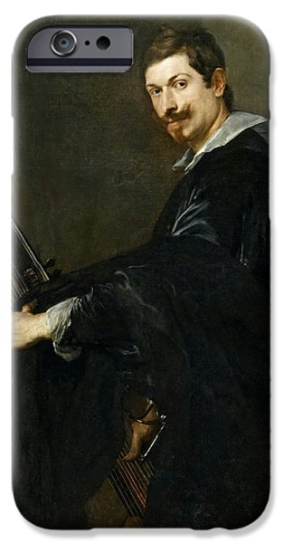 Lute Paintings iPhone Cases - A man with a lute iPhone Case by Celestial Images