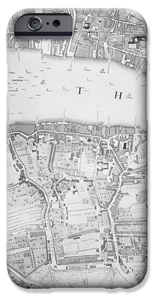 London Map iPhone Cases - A Map of St Pauls and Bankside iPhone Case by John Rocque