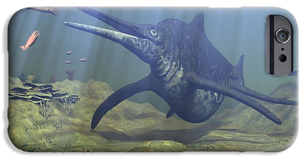 Triassic iPhone Cases - A Massive Shonisaurus Attempts To Make iPhone Case by Walter Myers