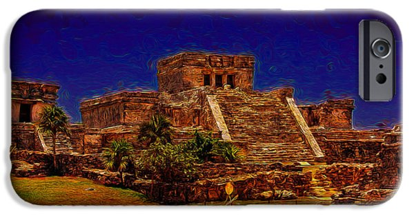 Historic Site iPhone Cases - A Mayan Castle iPhone Case by John Bailey