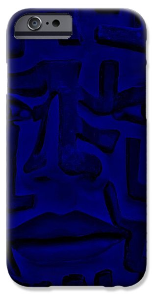 Culture Sculptures iPhone Cases - A Mazing Blue Face iPhone Case by Rob Hans