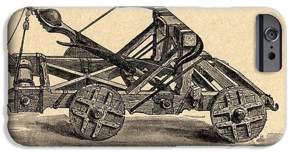 War iPhone Cases - A Medieval Catapult. From Sveriges iPhone Case by Ken Welsh