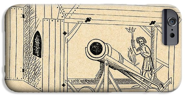 Shed Drawings iPhone Cases - A Medieval Mobile Cannon Being Fired iPhone Case by Ken Welsh