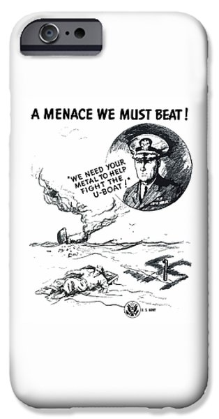 Patriotic Drawings iPhone Cases - A Menace We Must Beat iPhone Case by War Is Hell Store