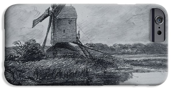 Eerie iPhone Cases - A Mill On The Banks Of The River Stour Charcoal On Paper iPhone Case by John Constable