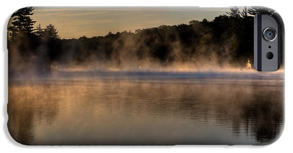 David iPhone Cases - A Misty Morning on Old Forge Pond iPhone Case by David Patterson