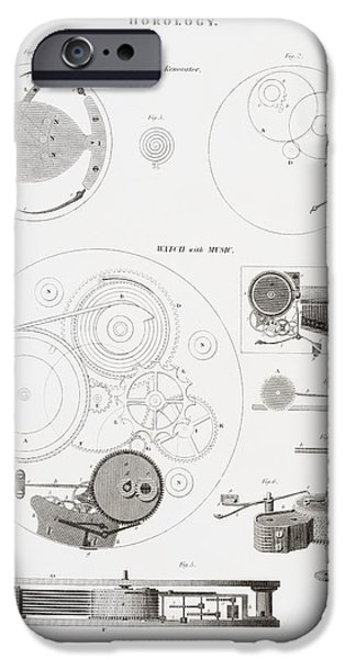 Technology Drawings iPhone Cases - A Musical Watch By The Clockmaker iPhone Case by Ken Welsh