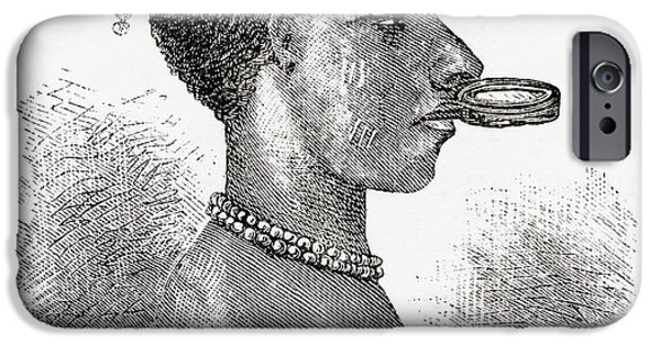 Disc Drawings iPhone Cases - A Native African Woman Wearing A Lip iPhone Case by Ken Welsh
