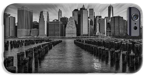 Empire State iPhone Cases - A New York City Day Begins BW iPhone Case by Susan Candelario