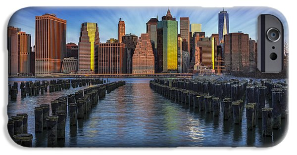 Empire State iPhone Cases - A New York City Day Begins iPhone Case by Susan Candelario