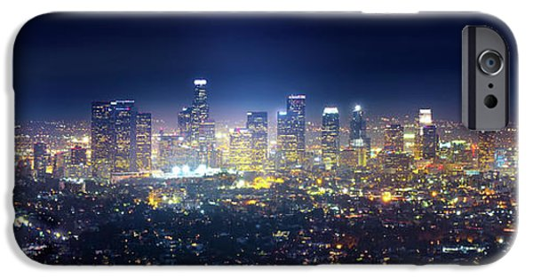 Night Angel iPhone Cases - A Night in Los Angeles iPhone Case by Mark Andrew Thomas