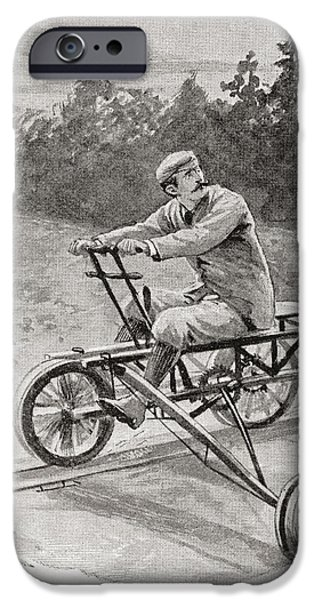 Nineteenth iPhone Cases - A Nineteenth Century Three Wheeled iPhone Case by Ken Welsh
