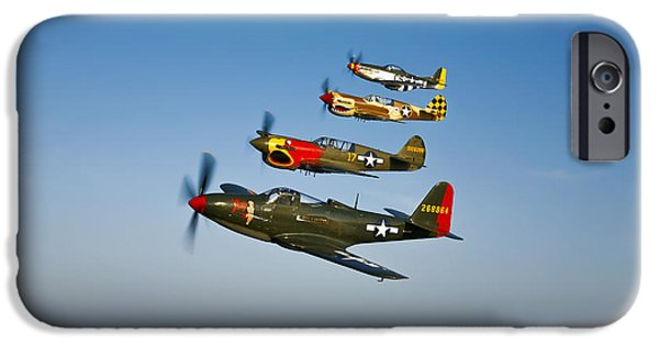 Warhawk iPhone Cases - A P-36 Kingcobra, Two Curtiss P-40n iPhone Case by Scott Germain