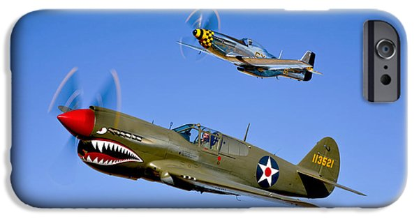 Warhawk iPhone Cases - A P-40e Warhawk And A P-51d Mustang iPhone Case by Scott Germain
