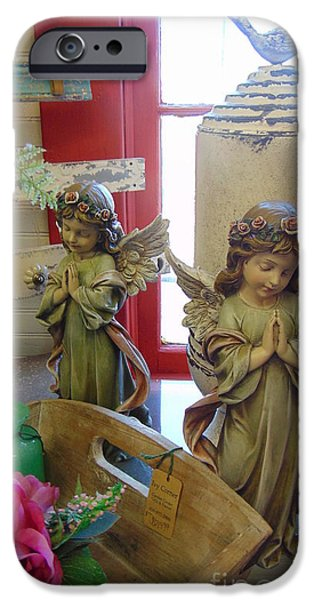 Seraphim Angel iPhone Cases - A Pair of Angels iPhone Case by Charlotte Gray