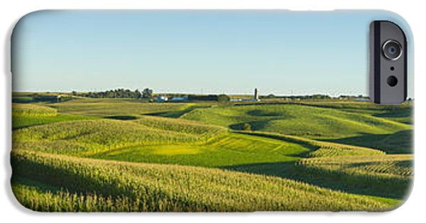 Recently Sold -  - Crops iPhone Cases - A Panoramic View Of Alfalfa Fields iPhone Case by Scott Sinklier