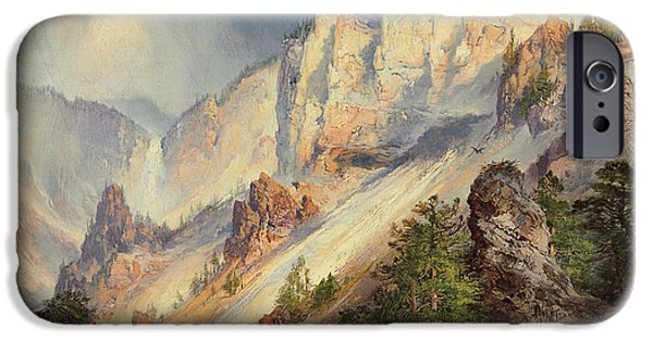 Hudson River iPhone Cases - A Passing Shower in the Yellowstone Canyon iPhone Case by Thomas Moran